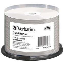 Диск CD-R Verbatim 700Mb 52x DL + White Wide Thermal Printable (50 шт) (43756)