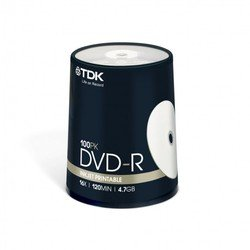 Диск TDK DVD-R 4.7Gb 16x Cake Box Printable (100 шт) (t19915) (DVD-R47PWWCBED100)