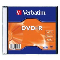 Диск DVD-R Verbatim 4.7Gb 16x Slim case (43547)