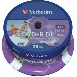 Диск DVD+R Verbatim 8.5 Gb 8x Printable Double Layer Cake Box (25шт) (43667)