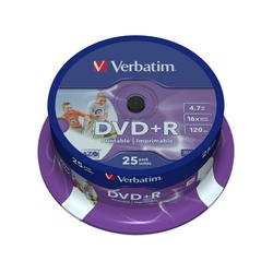 Диск DVD+R Verbatim 4.7Gb 16x Cake Box Printable (25шт) (43539)