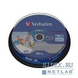 Диск BD-R Verbatim 25GB 6x Full Ink Print (10 шт) (43804)