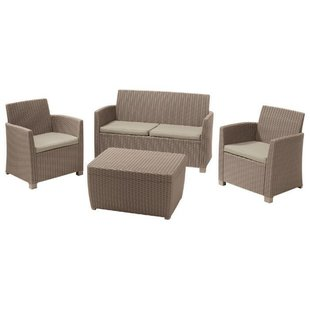 Комплект мебели Allibert Corona Set With Cushion Box (диван, 2 кресла, стол)