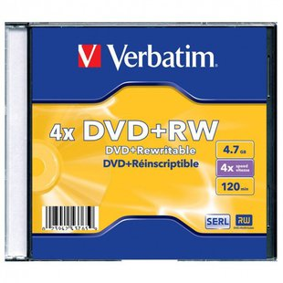 Диск DVD+RW Verbatim 4.7Gb 4x Jewel case (1 шт) (43228, 43229, 43246)