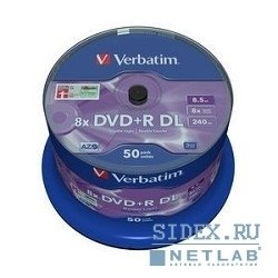 Диск Verbatim Диски DVD+R 8, 5 GB 8x CB, 50 Double Layer (43758)