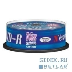 Диск 43655 Диски DVD-R Verbatim 16x,  4.7Gb (Slim Case,  10шт.)